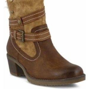 Spring Strep Brown Vegan Leather Boisa Boot Sz.9